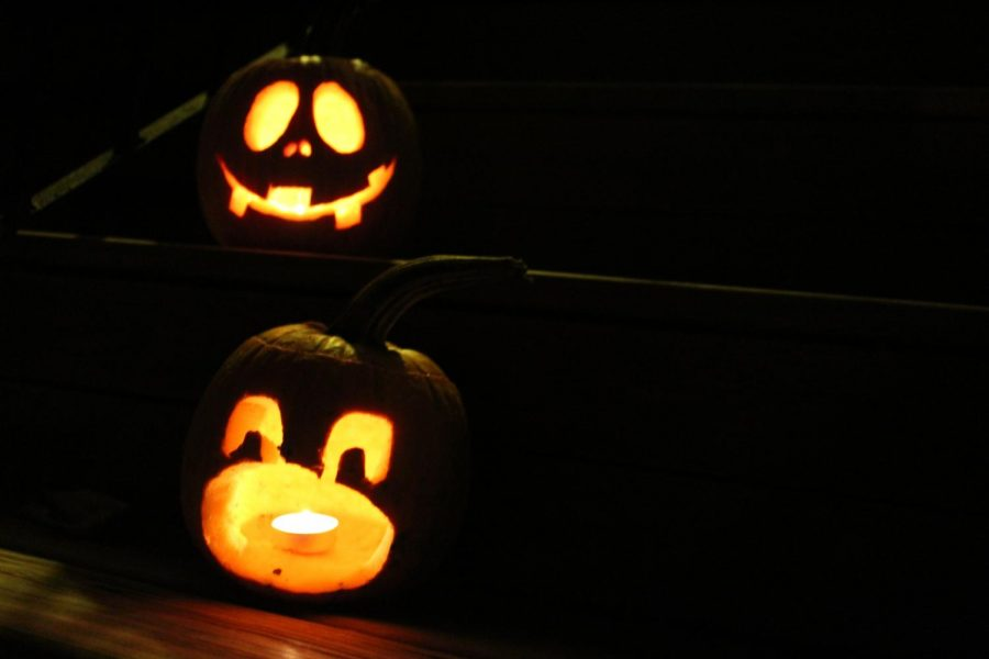Jack-O-Lanterns carved by Madisyn Robertson and KD Repphan on October 11.